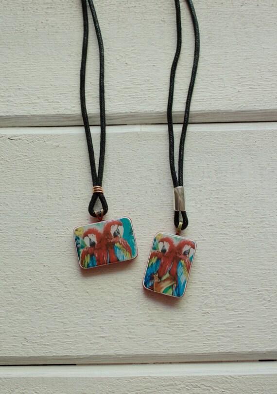Macaw Necklace, featuring original artwork, Handmade