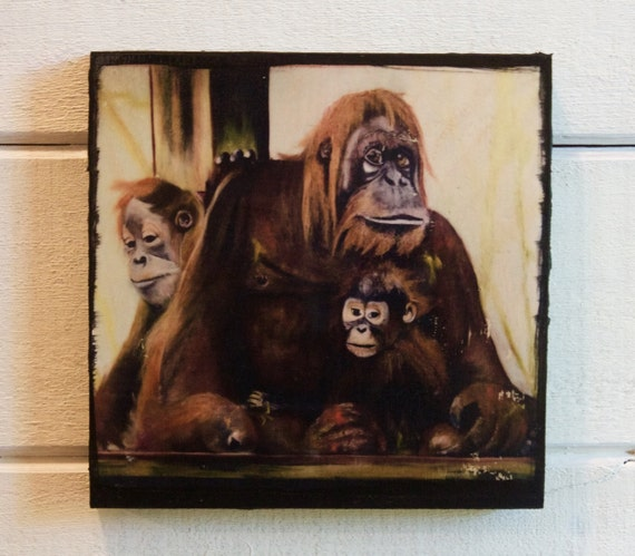 Orangutan Family,  Wood Block Photo Transfer