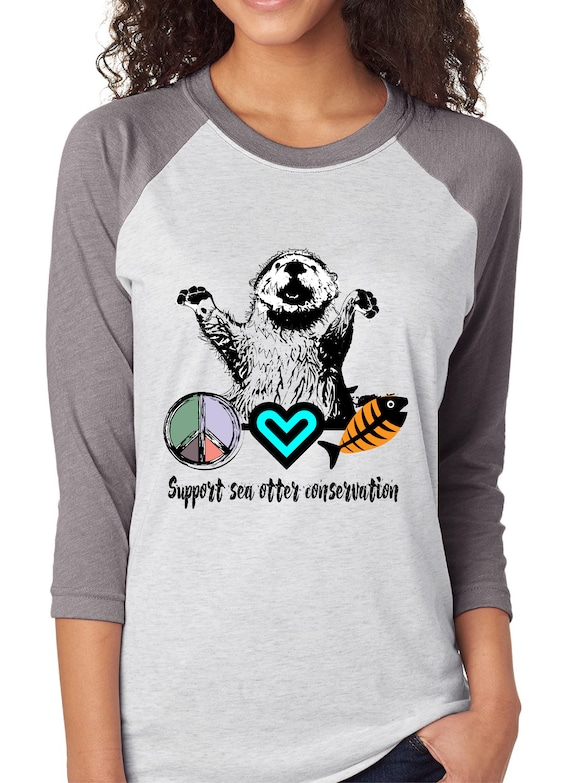 Sea Otter - Peace Love and Otters - Unisex Baseball Tshirts
