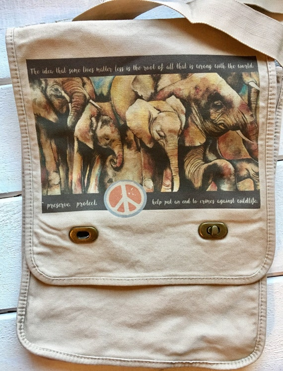 Original elephant painting,  messenger bag. Preserve. Protect. Help put an end to crimes against wildlife