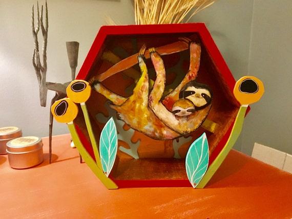 Mama and Baby Sloth, handmade 3D Wood Art