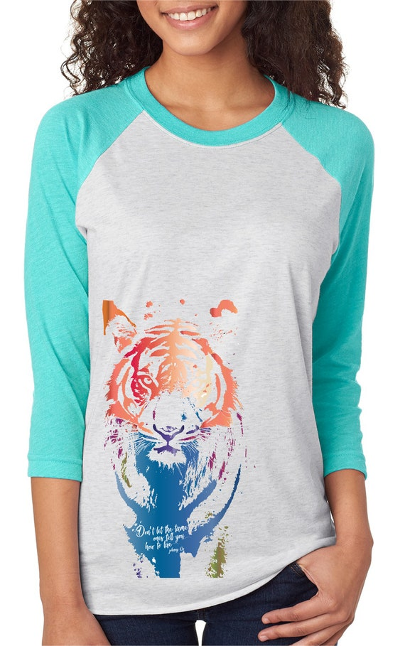 Don't Let Them Tame You  - Bima Tiger - Original Artwwork Benefiting Tiger Conservation - Unisex Baseball Tshirts