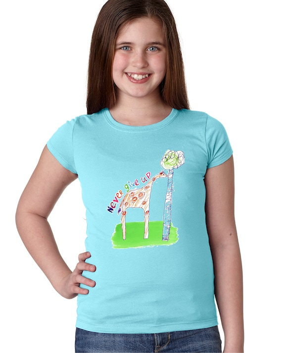 Never Give Up - Giraffe - Original Artwork By Evin - Youth Fitted and Non-Fitted Sizes