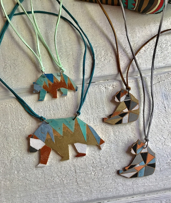 Conservation Critter Necklaces - Geometric Panda and Grizzly Statement Necklaces