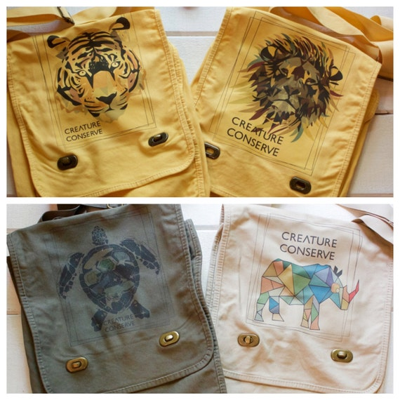 Creature Conserve Lion, Tiger, Sea Turtle and Rhino Messenger Bags