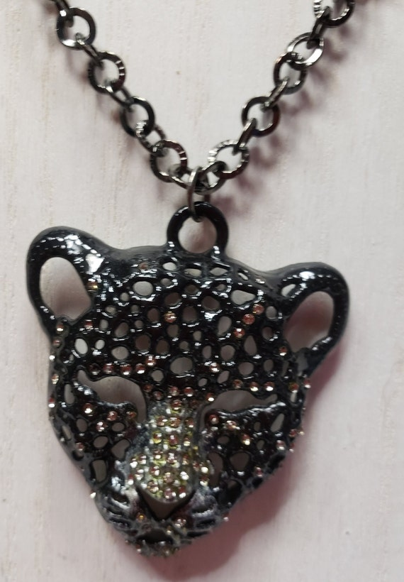 Leopard Head Pendant On Long Black Cord A One Of A Kind Gift. The Color/'s Here Are Totally Stunning--Purple--Green--Blue