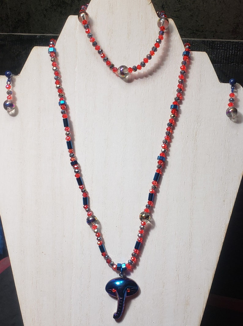 SPECIAL ORDER 3 Pc Blue Hematite and Crystal Elephant Jewelry Set