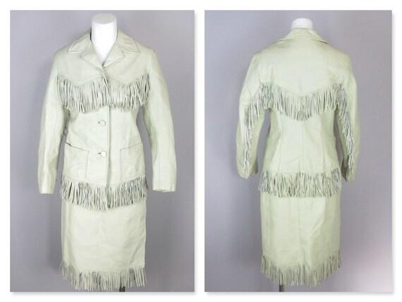 Vintage White Ivory Leather Western Jacket Skirt S