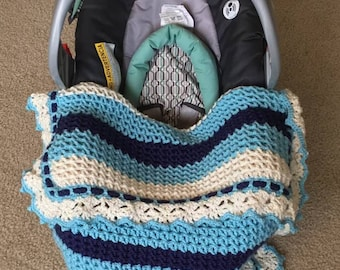 Reversible V Stitch Car Seat Blanket Pattern