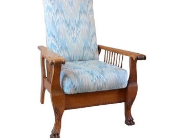 Vintage Oak Morris Chair With Claw Feet Recliner Chair With Cushions NOT  INCLUDE SHIPPING