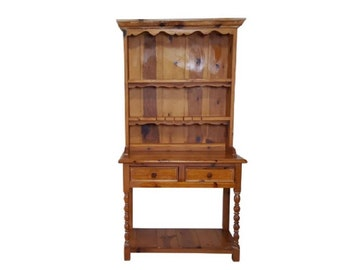 2 Pieces Rustic Style Pine China Hutch Sideboard With Spindles (shipping  Not Included)