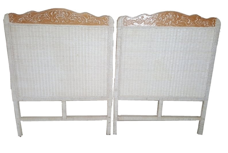 Pier 1 Wicker Pair Twin size Headboards Jamaica One Imports Rattan Cottage  Pair