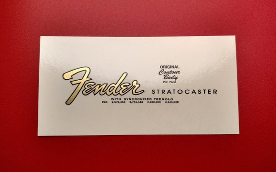 Fender Stratocaster 65' Transition Restoration Decal in Metallic Gold or Brown - Two custom waterslide decals