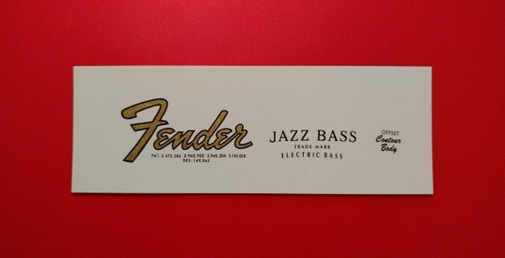 Custom Fender 65-67 Jazz Bass Waterslides in Gold Metallic - Two with each order.