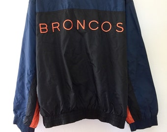 Vintage Denver Broncos Official Pro Player Front Zip Up Windbreaker Jacket Embroidery Men's Size Large Blue Black Orange