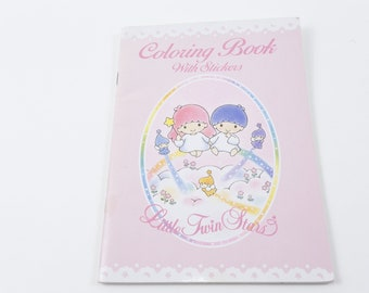 Little Twin Stars Vintage Coloring Book With Stickers Sanrio Vintage Picture Book Illustrations Child Reading 20-18-618