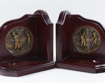 Golf, Bookend, Brown, Wooden, Lacquered, Relief Picture, Golfer, Medal, Home, Interior, Design, Decor, Bookshelf ~ 170805