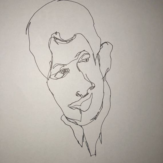 Pen And Ink Drawing Of My Student Quick Sketch Blind Contour Etsy
