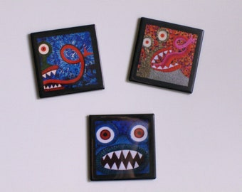 Monster Magnets set of 3 featuring artwork by Kendra Sartorelli