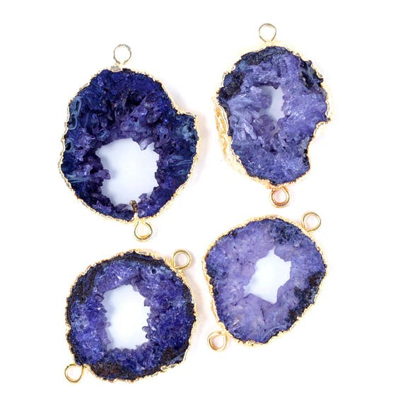 Real Geode Slice Druzy Gold Eletcroplated Connector Making Jewelry Double Bails