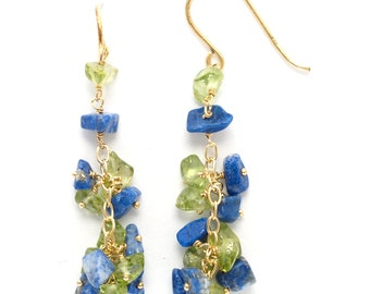 gold vermeil (sterling silver plated with 18K gold) french ear wire dangle earrings with tumbled chips of lapis lazuli peridot (AA1144)