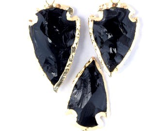 black obsidian arrowhead pendant with knapping, hand knapped and 22K gold electroplated edge with bail (AH1276)