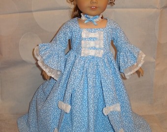 """Handmade Marie Antoinette Gown for American Girl 18"""" Dolls - Blue - 2 Pieces"""
