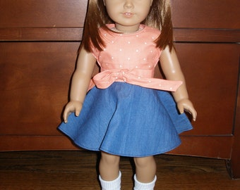 """Orange Retro Wrap Top & Denim Circle Skirt for American Girl and other 18"""" Dolls -  2 Pieces"""