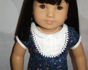 "Handmade Navy Blue Steam Bib Top for American Girl 18"" Dolls - New"