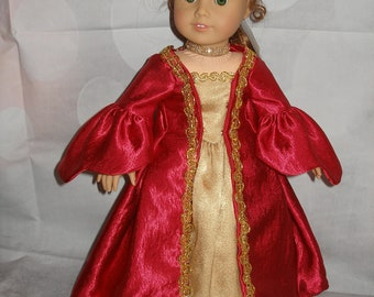 """Handmade Colonial Robe a la Francaise Gown for 18"""" Dolls - American Girl - 4 Pieces - Red - Christmas"""