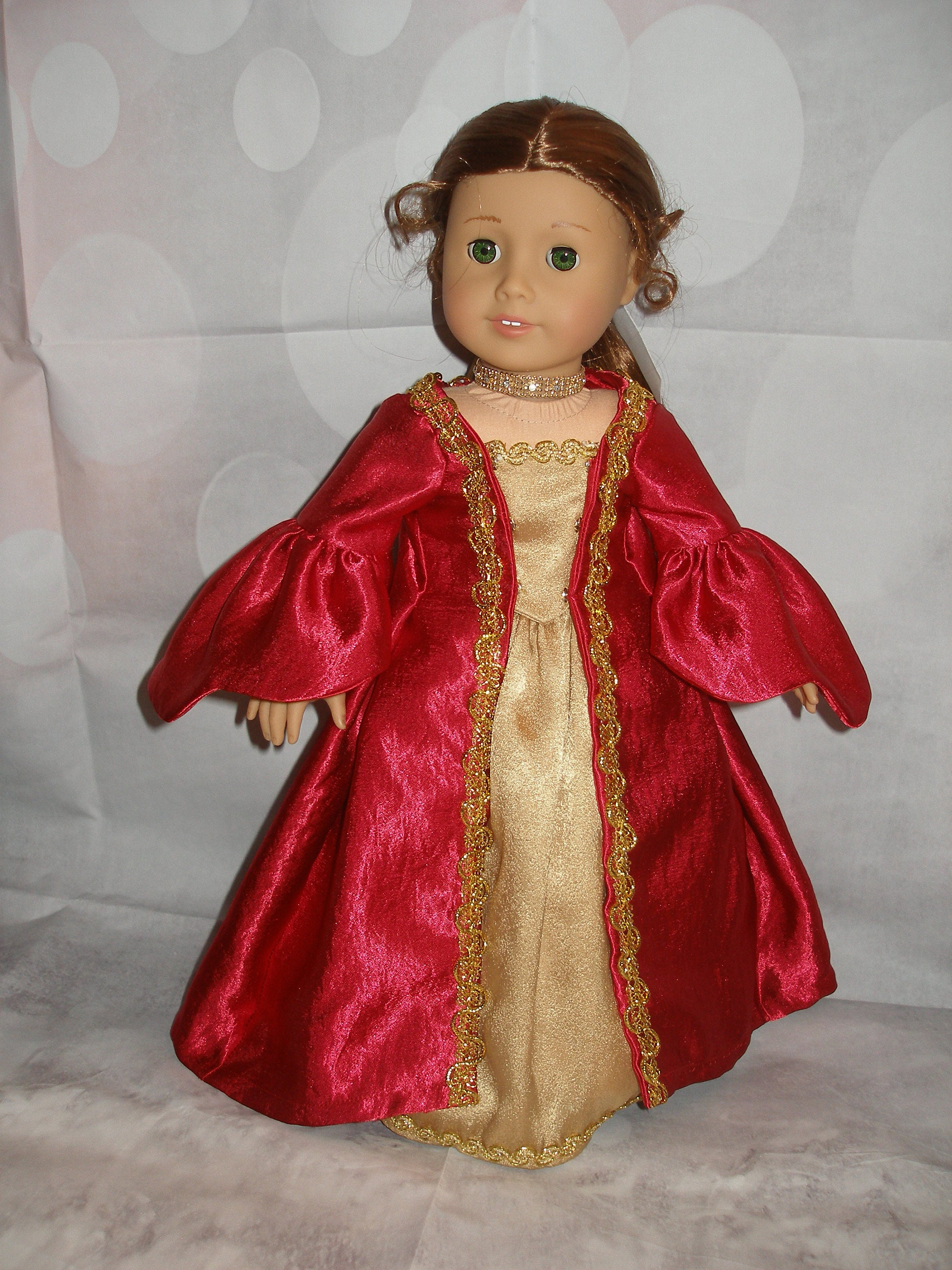 "Elegance A La Francaise handmade colonial robe a la francaise gown for 18"" dolls - american girl -  4 pieces - red - christmas"