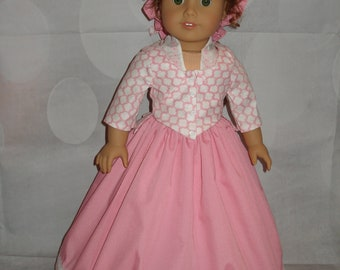 """Handmade 1700's Pierrot Outfit for 18"""" Dolls - American Girl - 4 Pieces - Pink"""