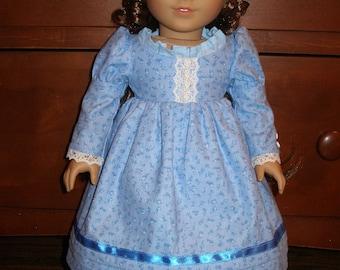 """Handmade Regency Dress for American Girl or Other 18"""" Dolls - Blue"""