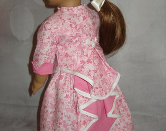 """Handmade 1870's Bustle Dress with Watherfall Bustle for American Girl 18"""" Dolls - Pink - 3 Pieces"""