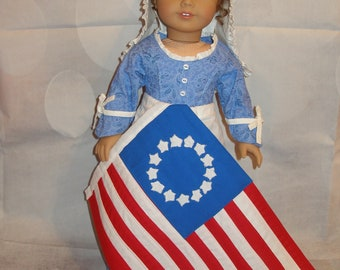 """Handmade 18th Century Betsey Ross Dress, Hat, Apron & Flag for American Girl 18"""" Dolls - 4 Pieces - Blue -New"""