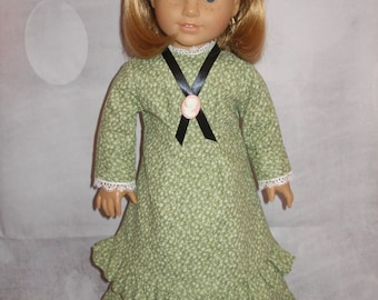 """Handmade Late 1800's Mary and Laura Dress for American Girl 18"""" Dolls w/ Cameo - Green - 3 Pieces"""