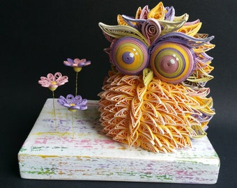 Quilling Paper Owl Pink Yellow Green Purple Wood Acrylic