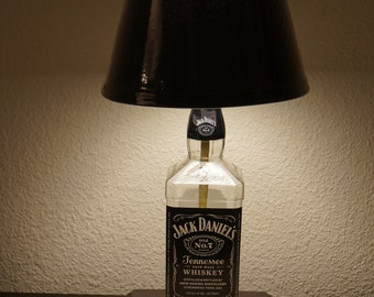 Jack daniels lamp etsy jack daniels bottle bar lamp man cave custom made 110 volt wood base aloadofball Images