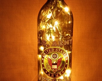 US Army, Marine Corps, Air Force, Navy Lighted Wine Bottle Glass Military Bar CUSTOM 110v Semper Fi