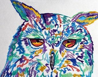 Horizon 9 x 12 Owl Watercolor Print
