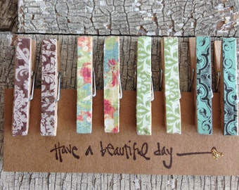 Mini Decorative Clothespins/ Mini Memo Clips/ Small Pegs/ Favor Bag Clips/Damask and Floral/Small Clothespins/Tiny Clothes Pins/Set of 8