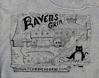 Ravens Grin Haunted House Map Hoodie Sweatshirt Jim Warfield