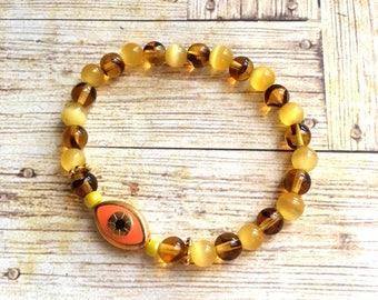 Bracelet Bohemian Œil yellow and orange cat's eye and tortoise