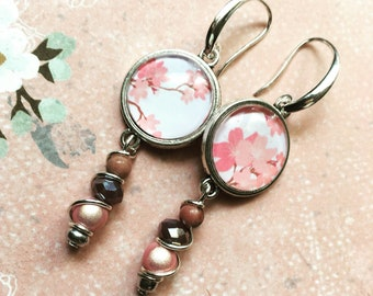 Pink cherry blossom cabochon earrings