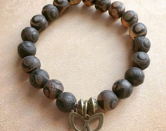 Butterfly and Brown agate bracelet