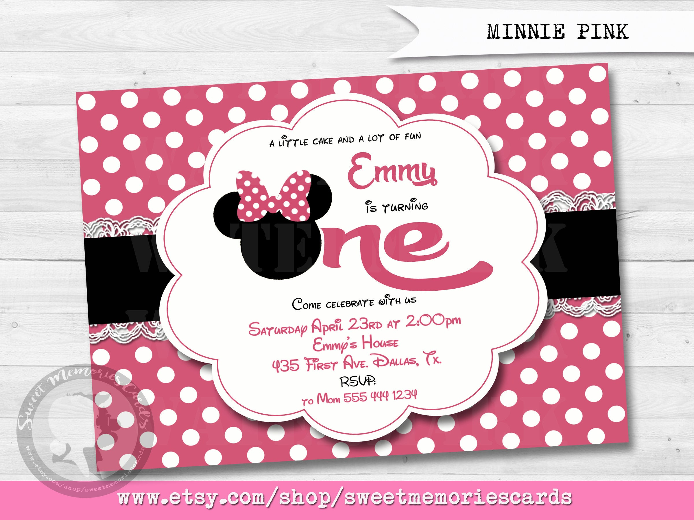Minnie Mouse Birthday Invitation Minnie Mouse 1st Etsy