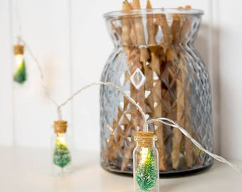 20 Lights Christmas Tree Glass Jar Bottle String Lights With Battery operated for Christmas Wedding Holiday Decoration