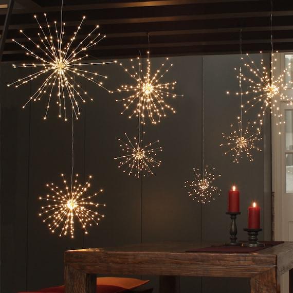 200 LED Fairy Lights , Hanging Copper Starburst LED Lights , String Lights  for Rustic Wedding Decor Fairy Garden home decor