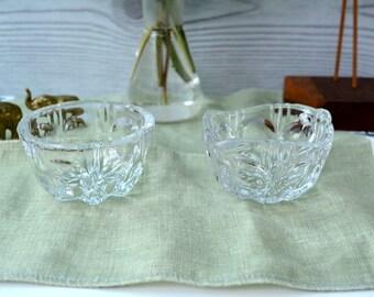 Midcentury Sugar bowl and cream jar, 1960s, Sugar cube bowl, coffee cream, servingset, Midcentury glass ref: VLS505