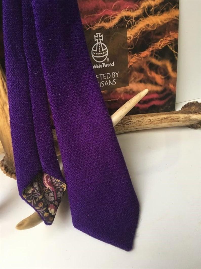 928fb520ecd2 HARRIS TWEED Necktie Purple tweed with Classic Tana Lawn   Etsy